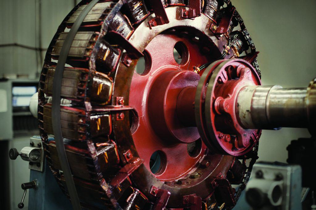 A rotor of a large synchronous motor